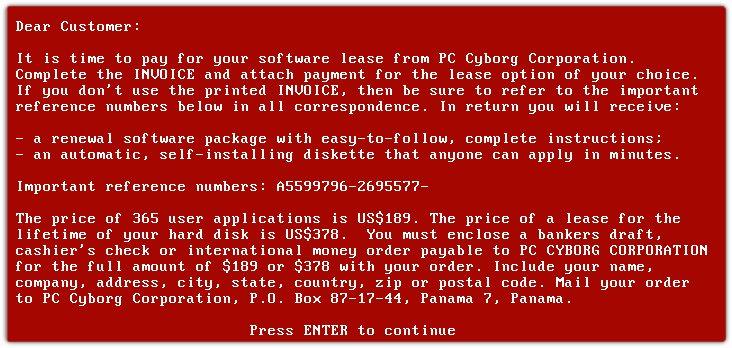 PC Cyborg (AIDS) Note