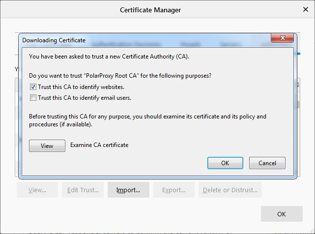 Firefox Certificate Manager