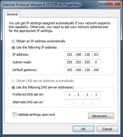Windows network adapter settings